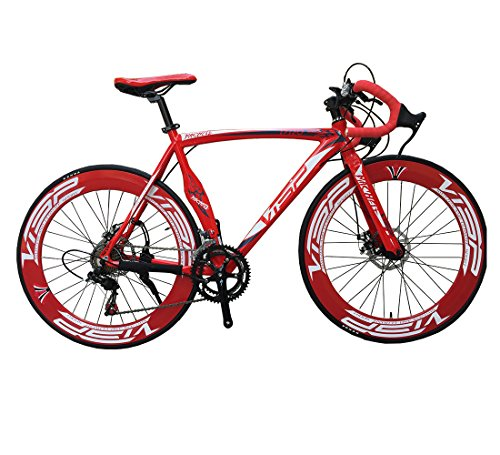 New 2015 VISP-A01 High Fashion Red 54 cm 700C 14 Gears Men Road Bike Speed Road Bicycle Mechanical Disc Brakes