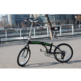 unYOUsual U arc 20″ Folding City Bike Bicycle 6 Speed Shimano Gear WANDA Tire Reflectors Black