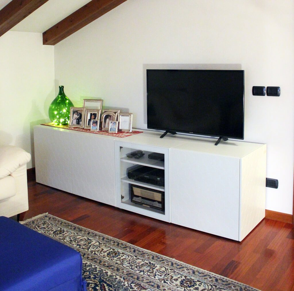meuble tv blanc intelligent qui cache