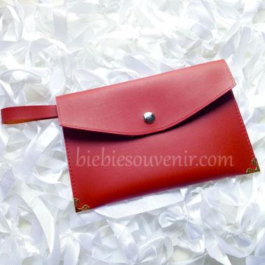souvenir leather pouch bag merah