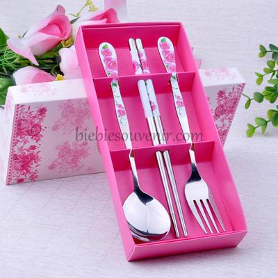 souvenir pernikahan 3in1 sendok garpu sumpit pink