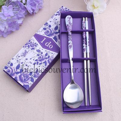 souvenir pernikahan murah sendok sumpit ungu