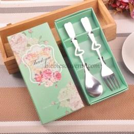 souvenir pernikahan sendok garpu set hijau