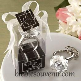 souvenir pernikahan gantungan kunci cincin Clear White Ring Keychain