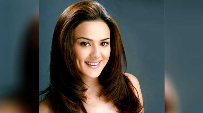Indian film actress Preity Zinta with dimples.