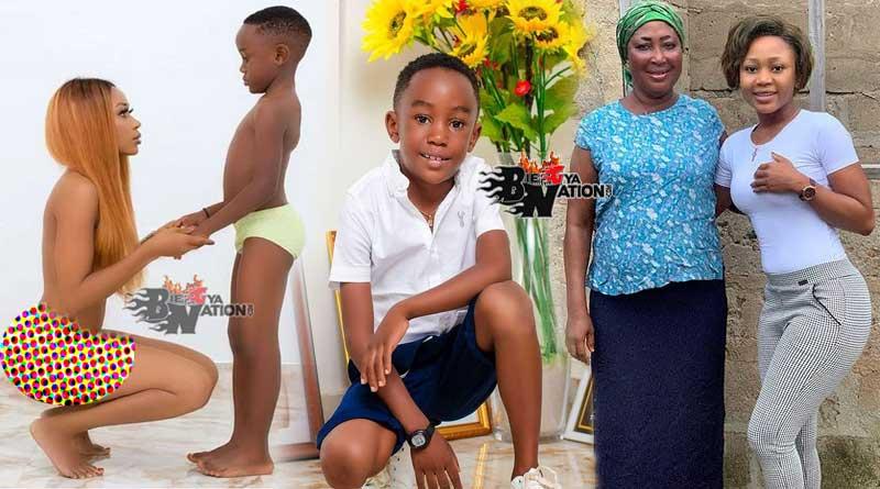 Akuapem Poloo with her mother mom and son Mudasir Muhammed Yakubu.