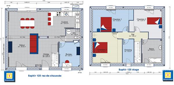 Plans de la maison saphir en 120 m2 habitables