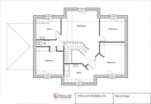 Plan de l'étage du pavillon sur mesure de Moisselles