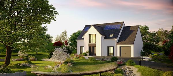 Le modèle Boréal de la gamme Confort Plus de Maisons Pierre, façade avant.