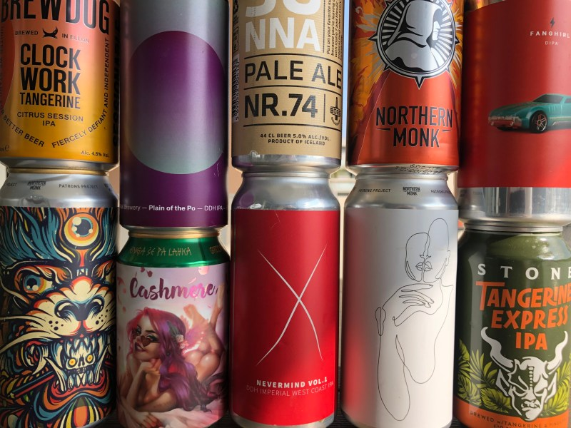 multiple craft beer cans