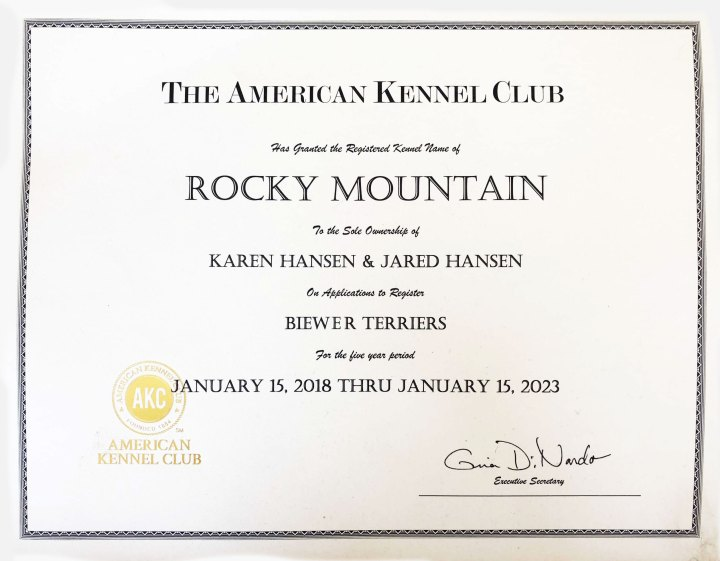 AKC Kennel Name Certificate | Rocky Mountain Biewer Terriers