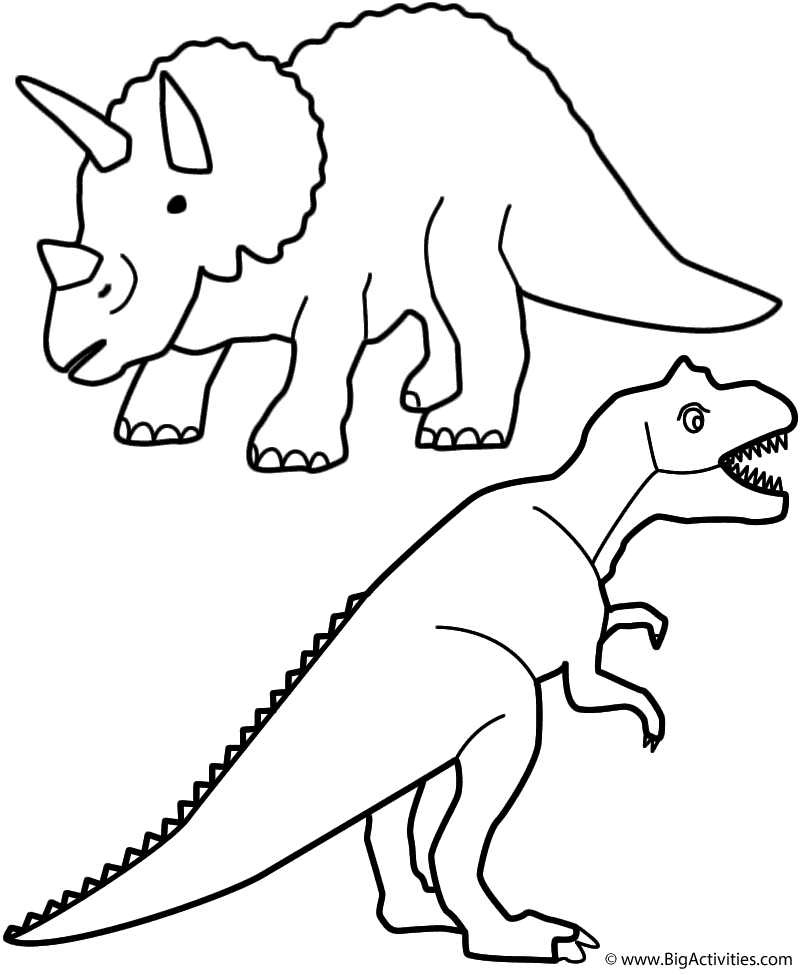 Triceratops And T Rex Coloring Page Dinosaurs