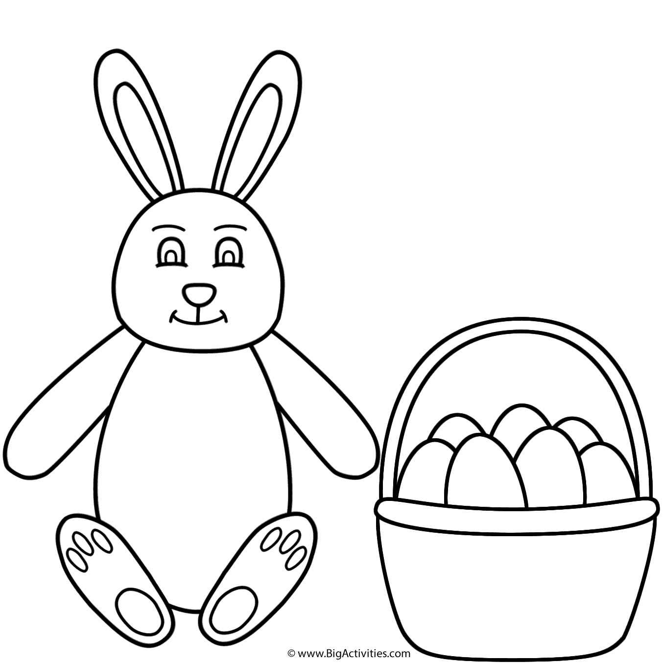 Easter Bunny Sitting And Basket Of Eggs