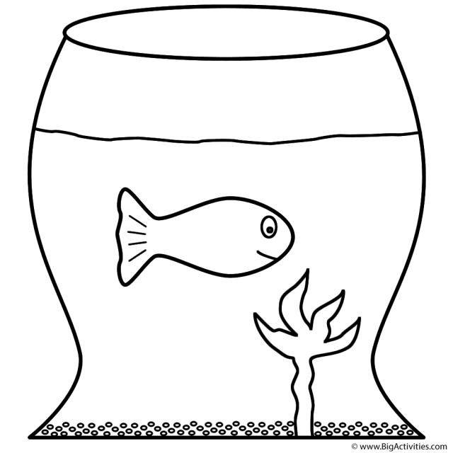 Goldfish in Fish Bowl - Coloring Page (Fish)