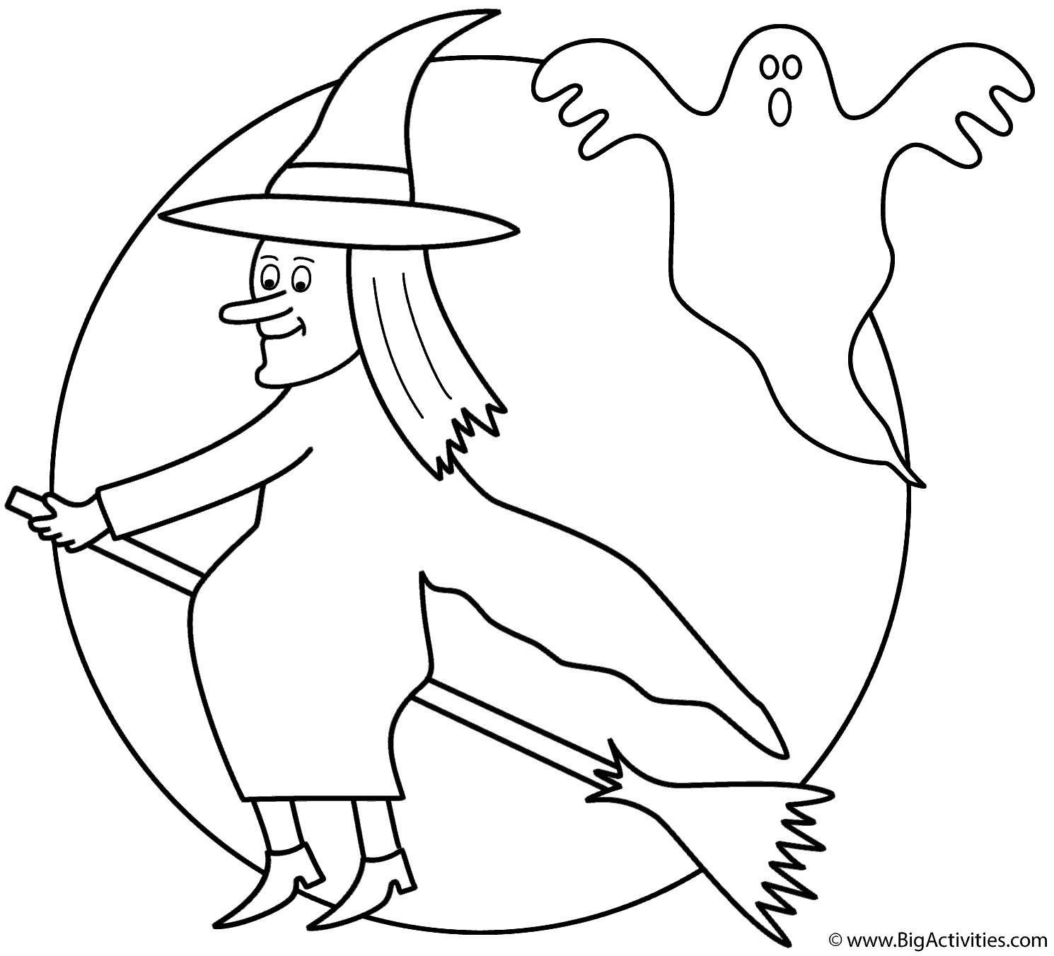Witch On Broom With The Moon And Ghost