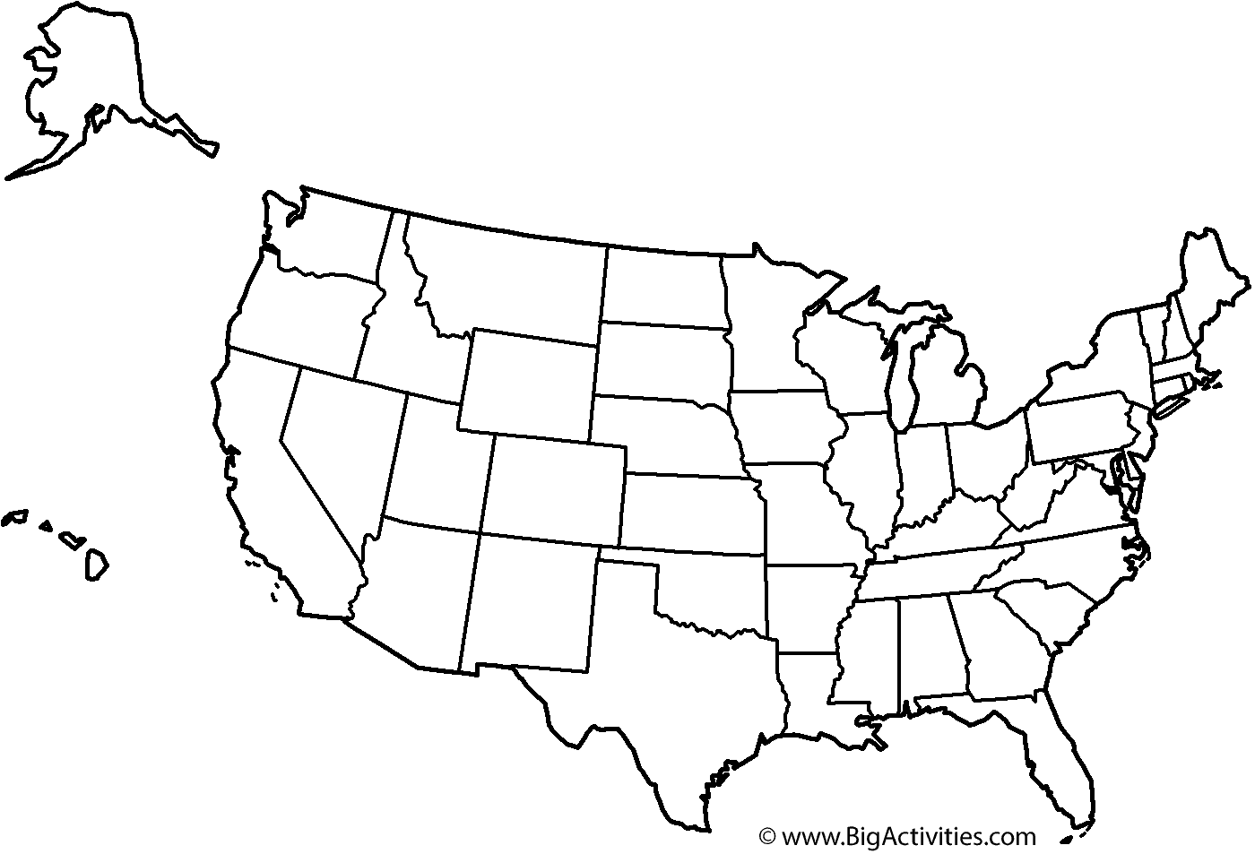 Map Of The United States With Title And States