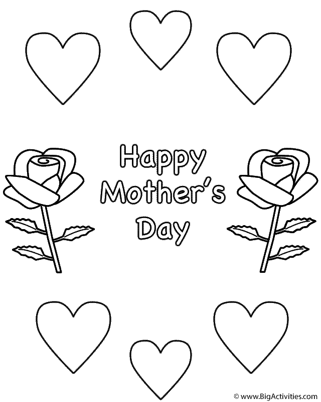 Roses And Hearts Coloring Page Mother S Day