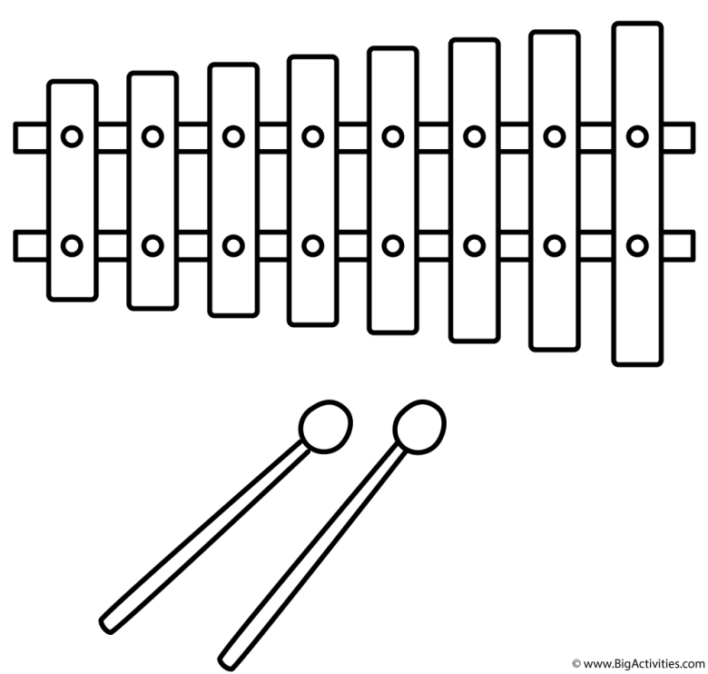 xylophone - coloring page (musical instruments)