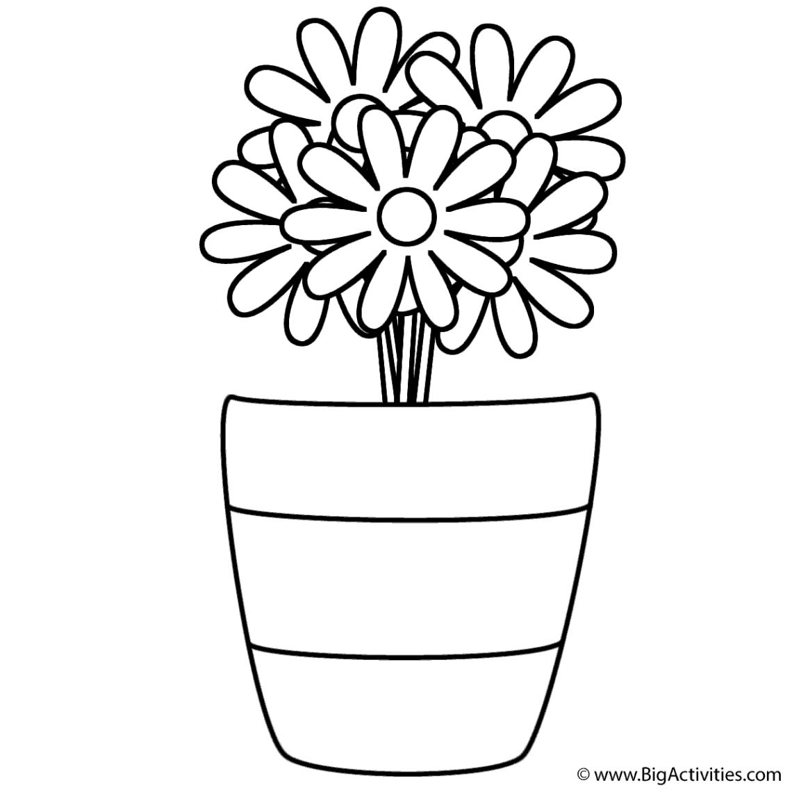 Flowers in Vase with Stripes - Coloring Page (Plants) | colouring pages flowers in a vase