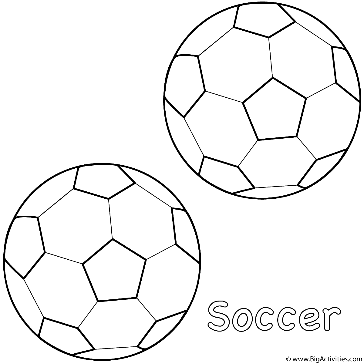 Soccer Balls Coloring Page Sports