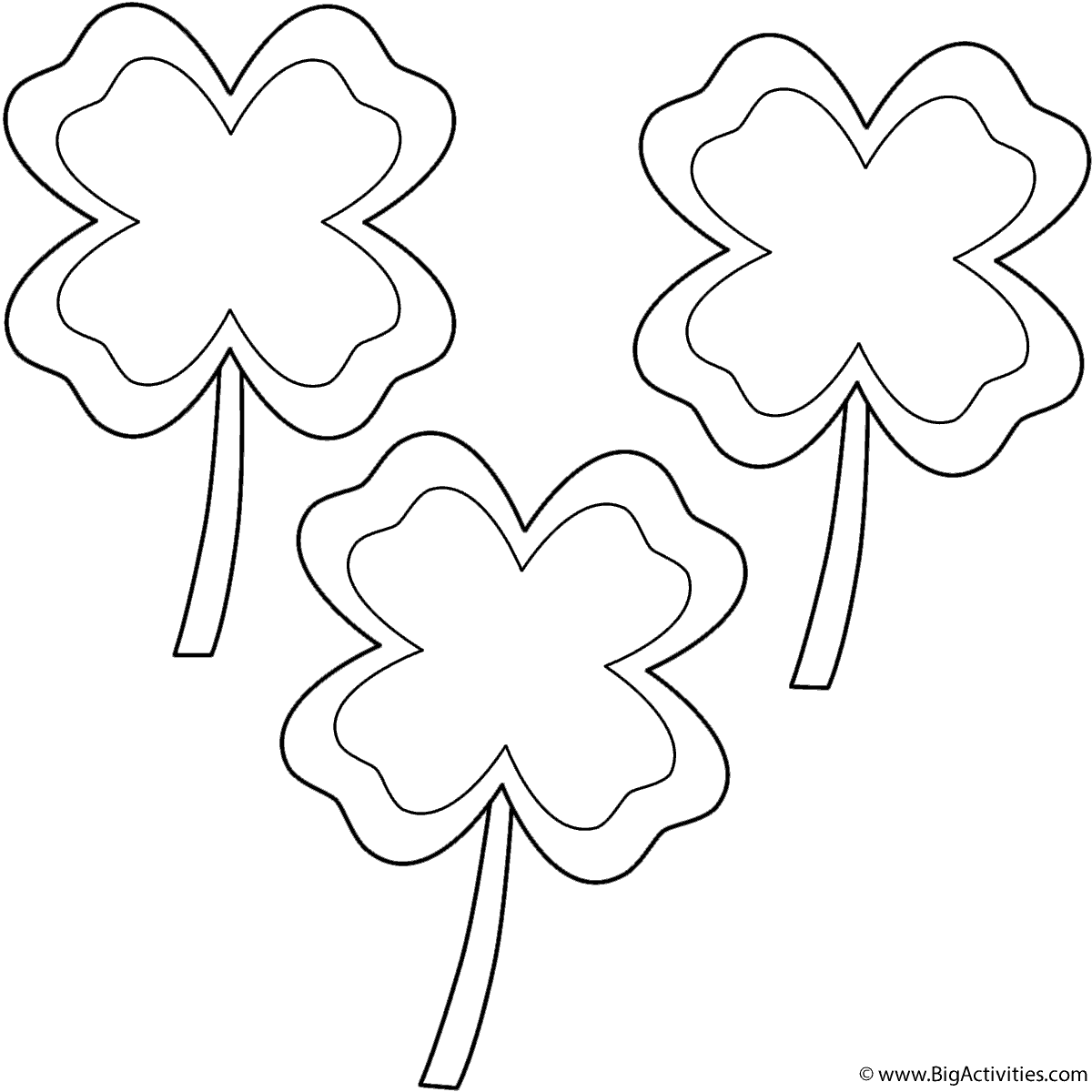Four Leaf Clovers With Border 3 Clovers