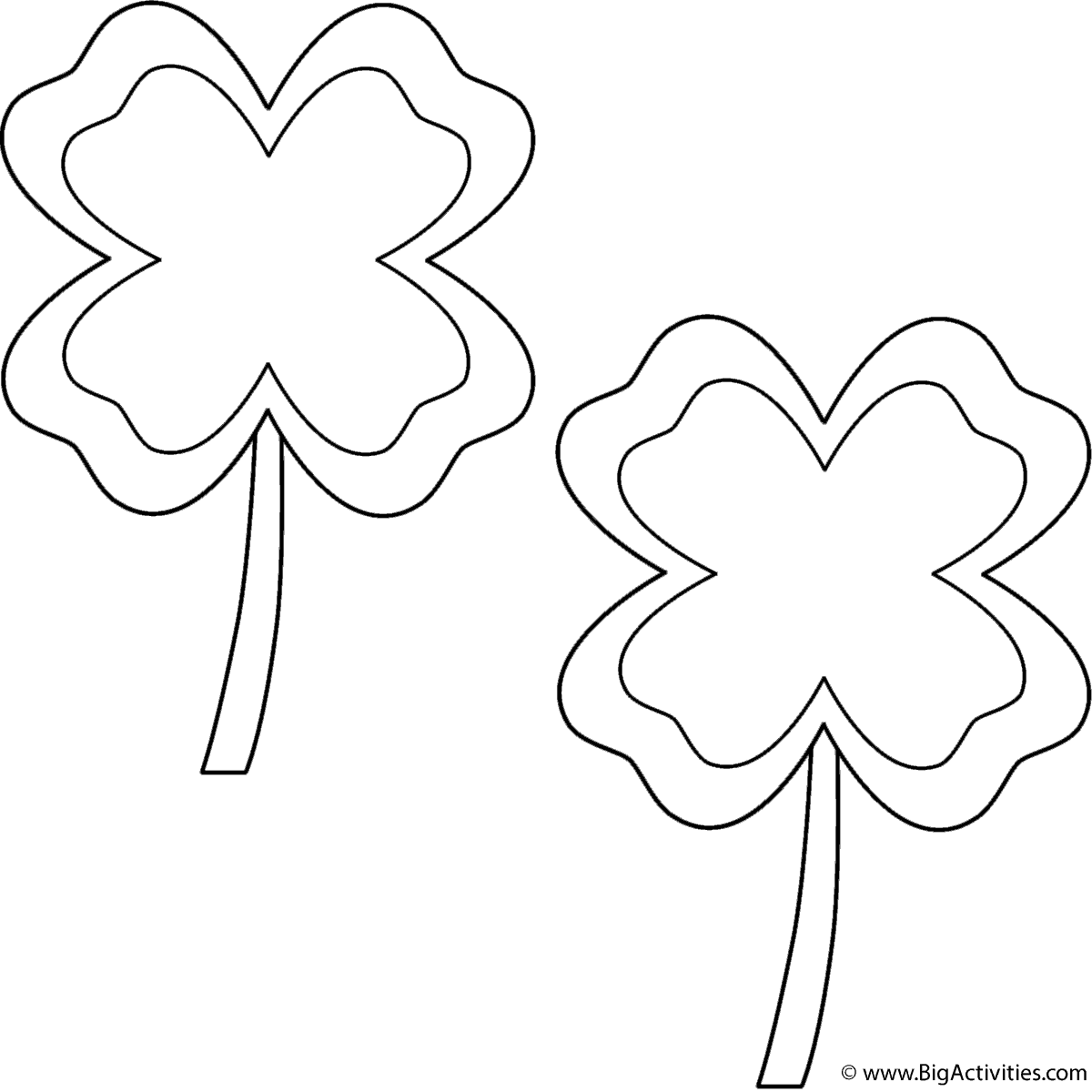 Four Leaf Clovers With Border 2 Clovers