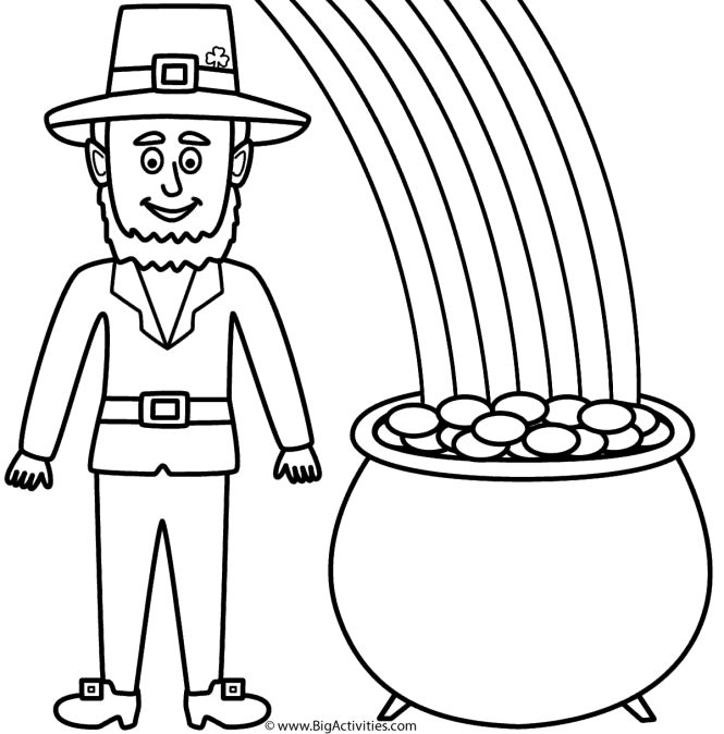 Leprechaun With Pot Of Gold And Rainbow Coloring Page St Patrick S Day