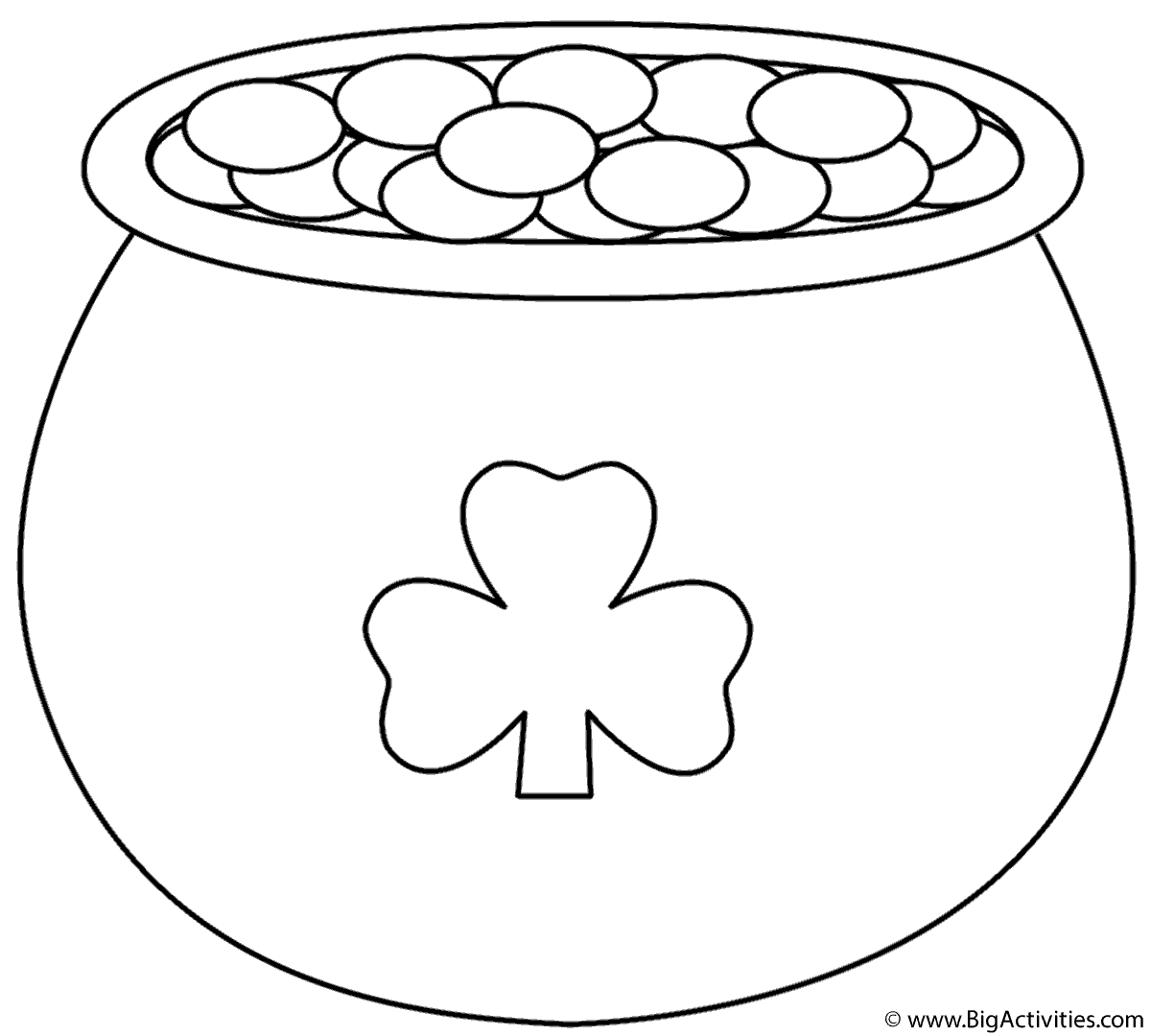 Pot Of Gold With Shamrock Coloring Page St Patrick S Day