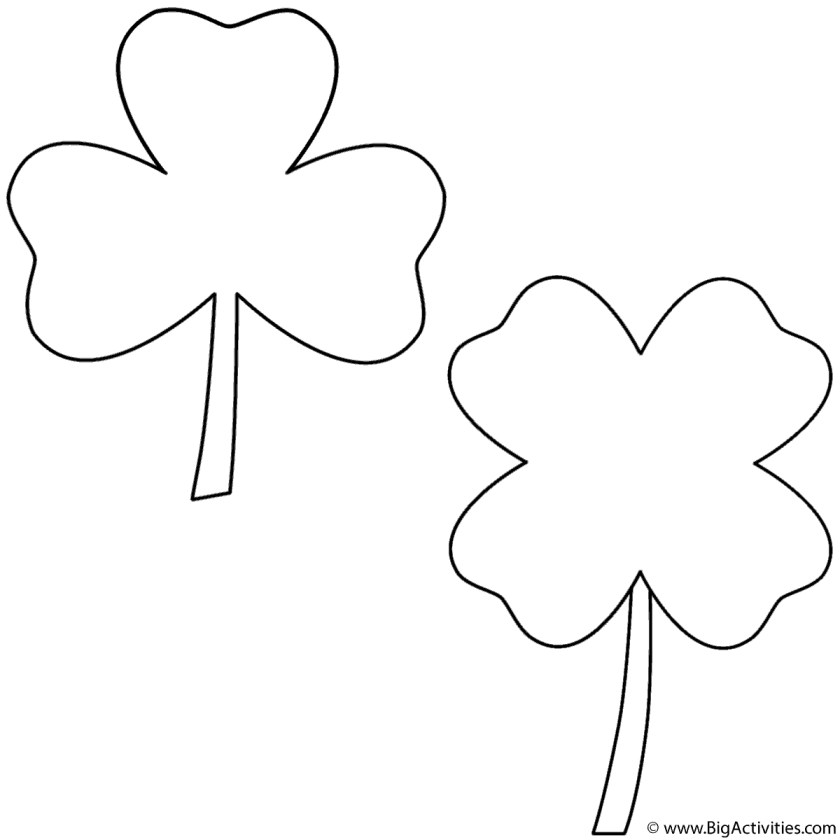 three leaf clover and four leaf clover  coloring page (st