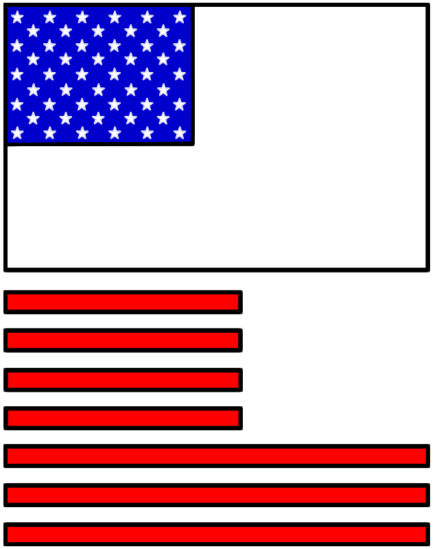 Memorial Day Flag Paper Craft Color Template