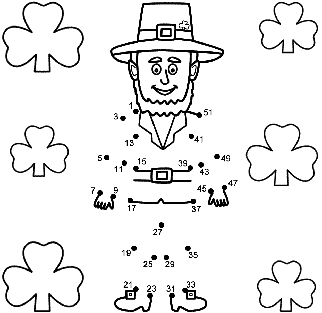 Leprechaun With Shamrocks