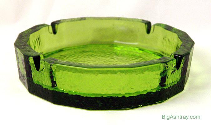 Heavy Green Hammered Glass Patio Ashtray