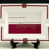 Classy Odyssey cigar ashtray made of fine white porcelain with red, gold and gray decor.