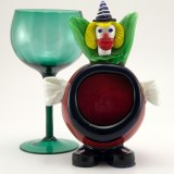 This vintage Murano glass clown ashtray provides a chuckle with your smoke. Because of the fat, red, round belly, this form is often called a 'Tomato Clown' ashtray.