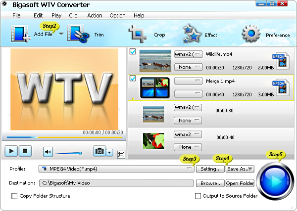 Convert WTV to AVI, MP4, MKV, WMV, MPG and MOV