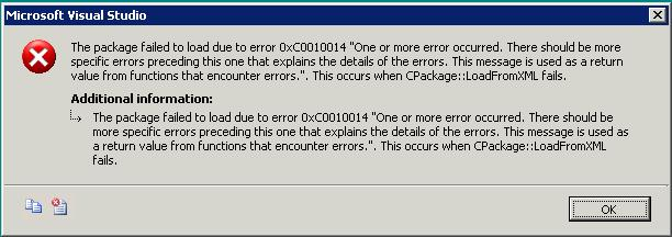 You Receive An Error Message When You Try To Load An SSIS