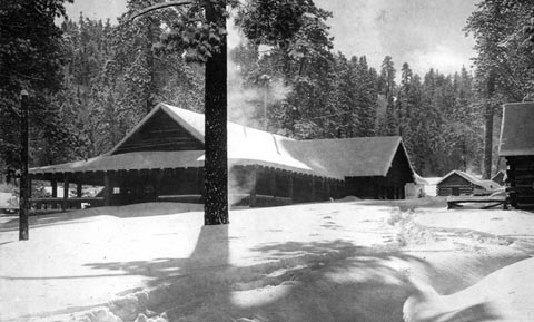 Filming at the old Pine Knot Lodge at Big Bear Lake in the 1920's - Rick Keppler collection.