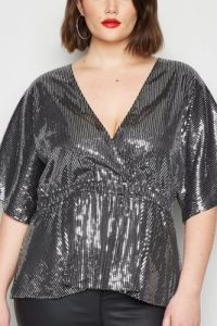 Black Sequin Peplum Top