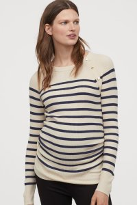H&M Ribbed Jumper cream with navy horizontal stripes