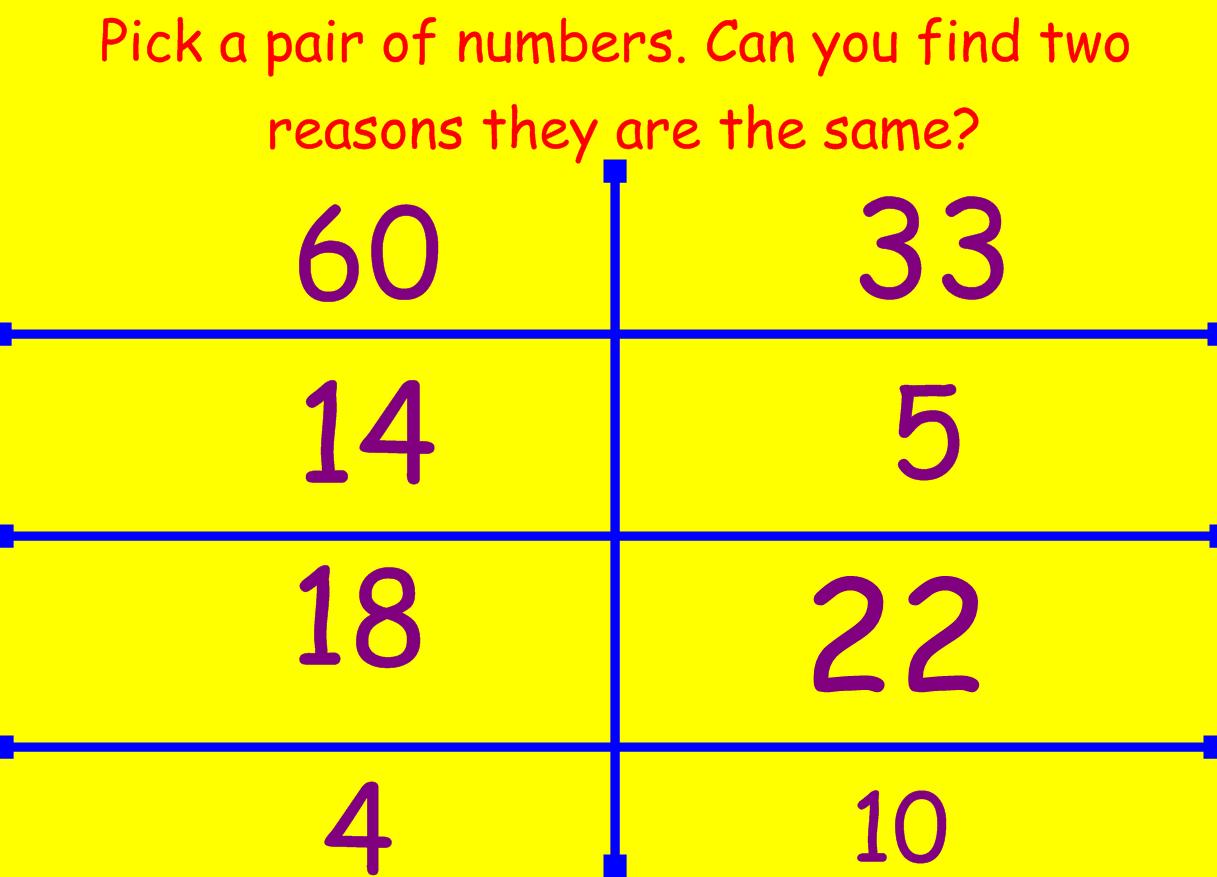 Idea 218 Pick A Pair Maths Starter Discussion Activity