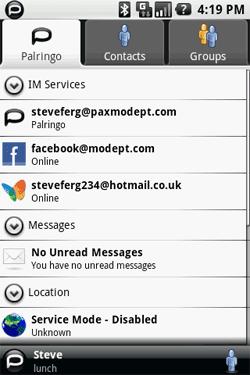 Palringo contact list
