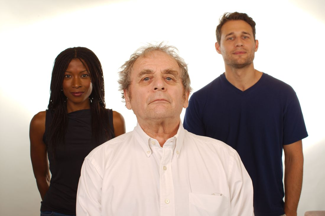 The new TARDIS gang, Yasmin Bannerman, Sylvester McCoy and Travis Oliver