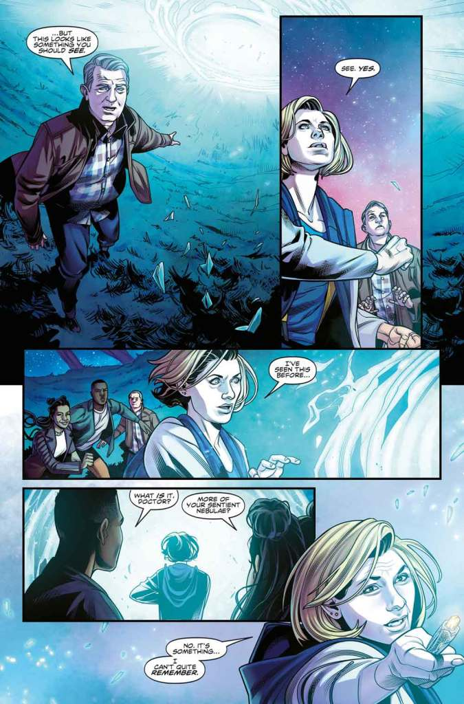 One of the interior pages of The Thirteenth Doctor #1, demonstrating the stunning art and colours