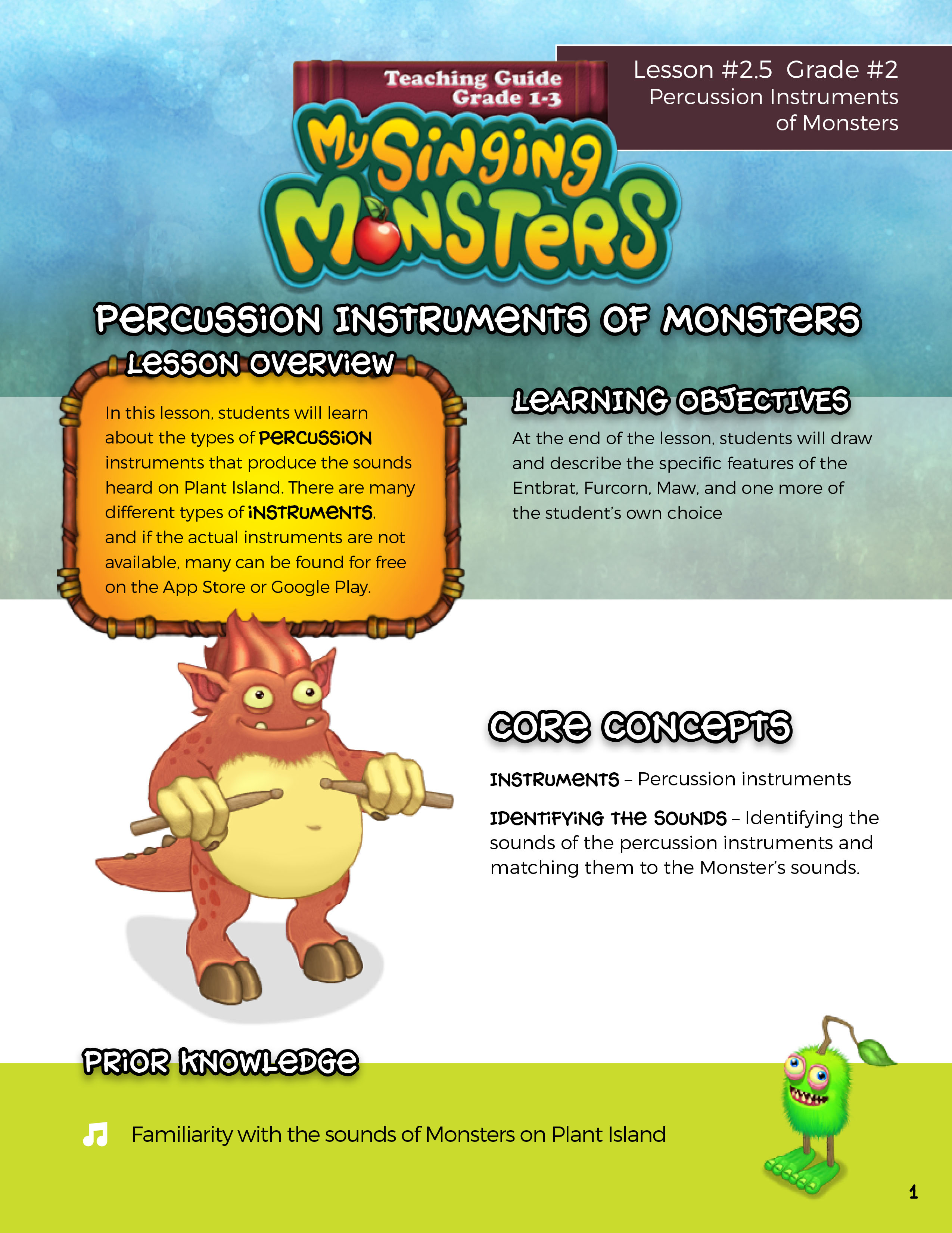 Teaching Guide Grade 1 3 My Singing Monsters