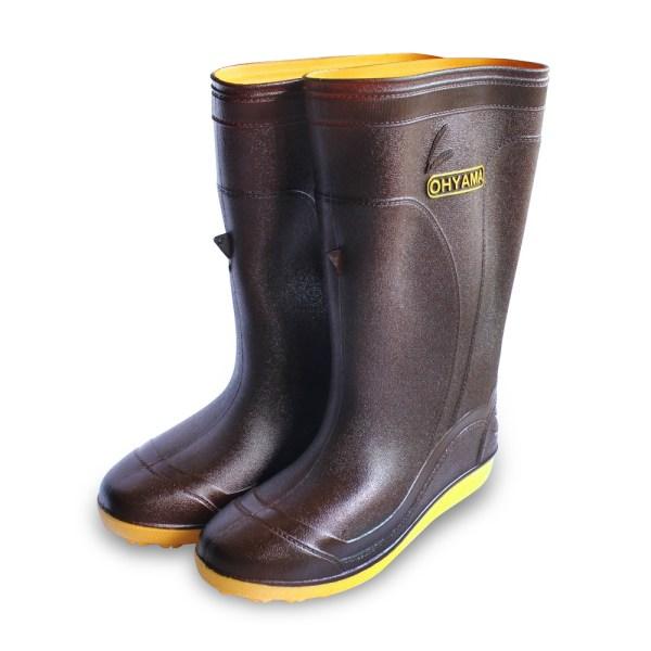 รองเท้าบู๊ทข้อยาวพื้นปุ่ม B.002 สีน้ำตาล