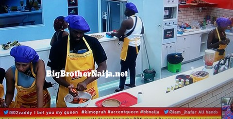 BBNaija 2019 Housemates preparing meal for their guest day 24