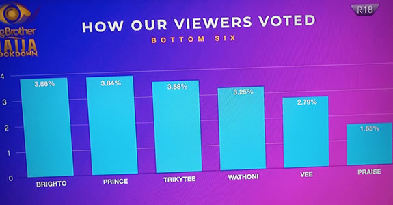 Big Brother Naija 2020 week 5 voting results percentages