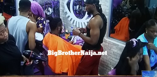 Big Brother Naija 2020 Housemates styling their hair in the Darling saloon