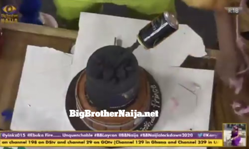 Prince Nelson Enwerem birthday cake on Big Brother Naija 2020 day 14