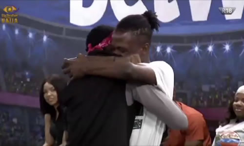 Laycon hugs Big Brother Naija 2020 Week 8 Head of House Trikytee after being selected as the Deputy Head of House